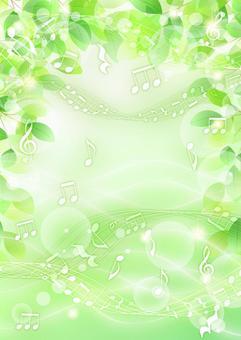 鮮綠色,自來水和音符的閃光背景垂直