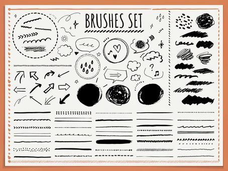 Set of hand drawn brush textures