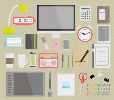商品在辦公桌前的插圖