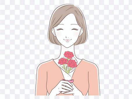 康乃馨的女人