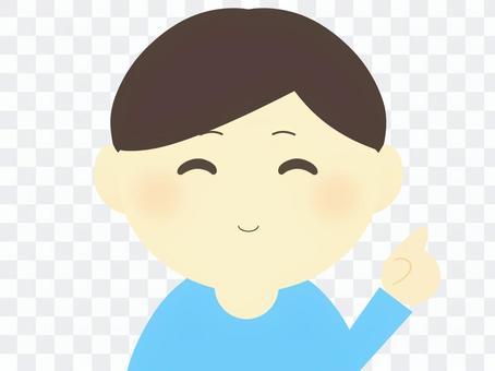 男(指點/微笑)