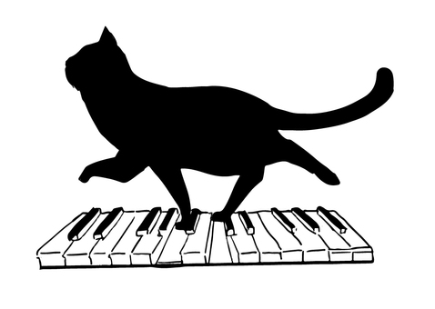 黑貓剪影鋼琴
