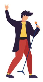 唱歌時舉手示意的男人