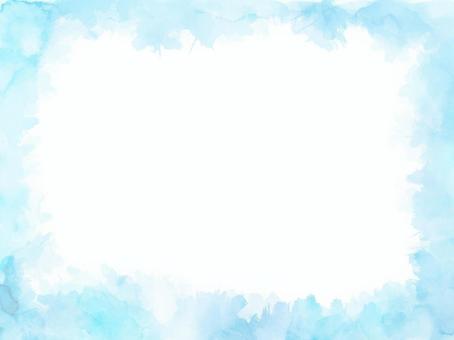 水彩紋理框架3淡藍色