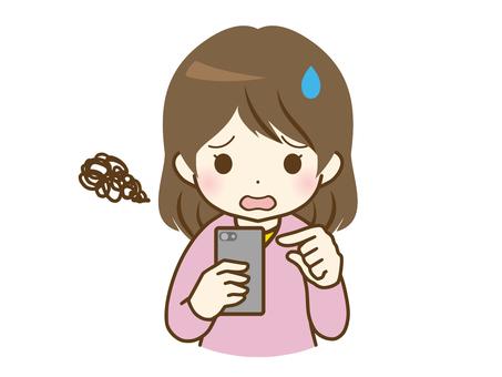 年輕女子在智能手機上失敗