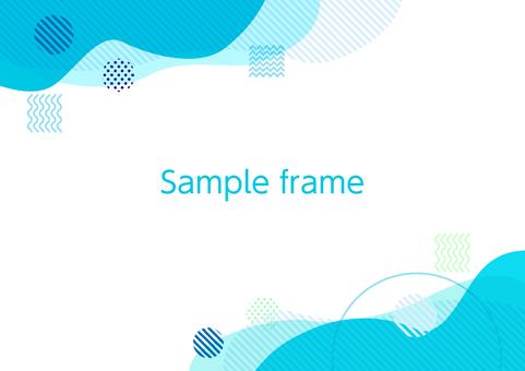 藍色抽象幾何曲線的對角框架背景