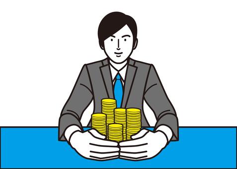 A businessman who surrounds money