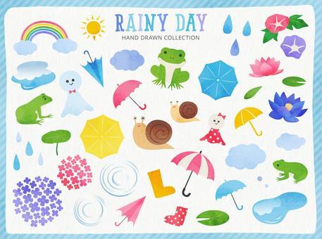 雨季水彩風格插圖集