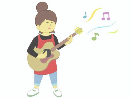 女幼兒園老師彈吉他1