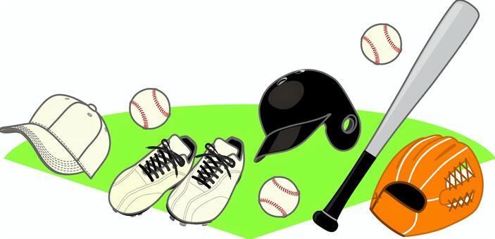 棒球收藏品聚集的地面