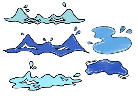 波・水面・水滴