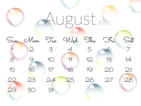 2021 年 8 月日曆大理石