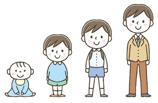 子どもの成長/男の子/かわいい/手描き