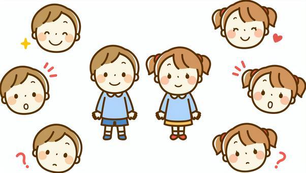 男孩和女孩在幼儿园的孩子