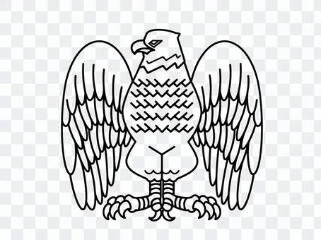 像徽章一樣的老鷹的線條藝術