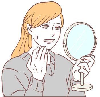 看手鏡的焦急女人(簡單)