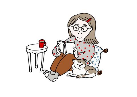看書的女人和依偎的貓