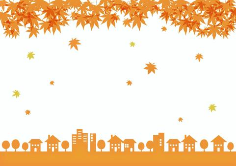 Townscape frame autumn leaves