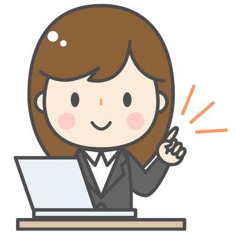 指點/可愛的女性上班族/電腦