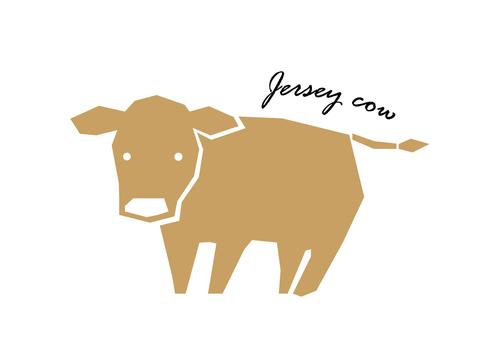 澤西牛剪影風格的插圖