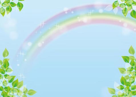 空、虹、背景、A4横、塗足付