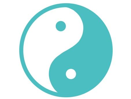 Yin Yang Mark Light Blue Blue