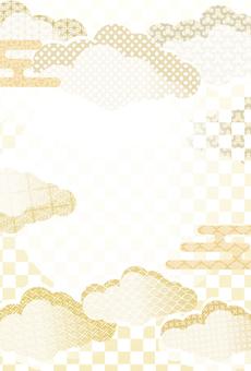 日本圖案背景框架-新年賀卡格式