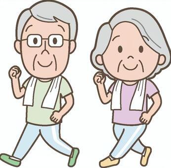 一對老夫妻散步