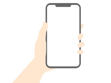一隻手拿著智能手機的插圖