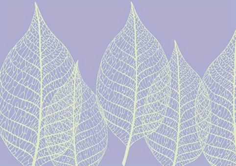 透かし葉っぱの紫の背景(葉脈標本)2
