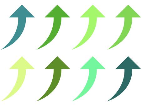 簡單的向上箭頭圖標集:綠色