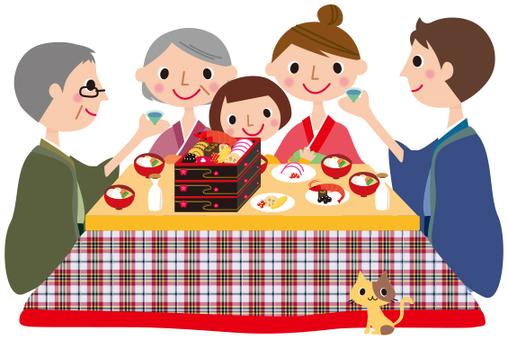 家庭與被爐一起吃禦節料理