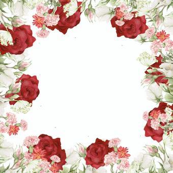 紅玫瑰花卉幀 - 框架
