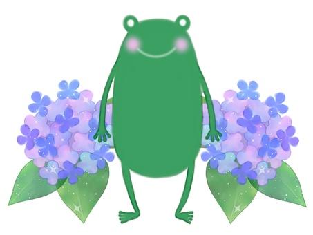 蛙とあじさい