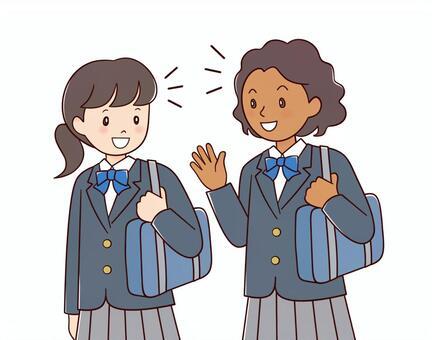 Black girl and Japanese girl