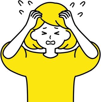 Woman holding her head Wow sweat yellow