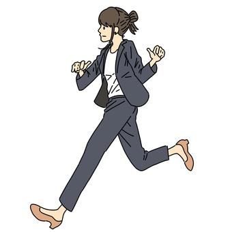 Female office worker running