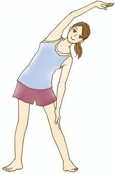 伸展的婦女(站立的姿勢)