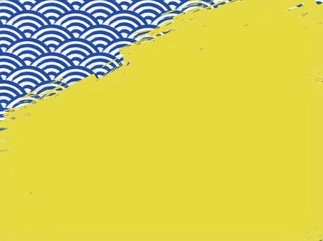 毛筆寫青海波浪填充背景:左上:靛藍x金色