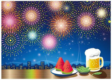 夜空的煙花,啤酒和西瓜