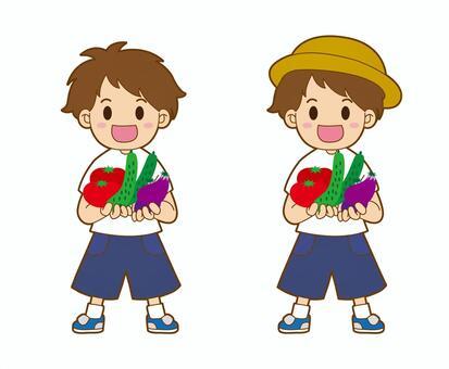 一個小男孩與蔬菜