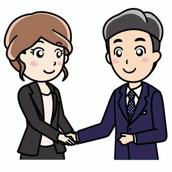 Illustration of shaking hands when a business negotiation is concluded