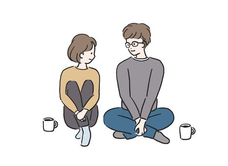放鬆的情侶