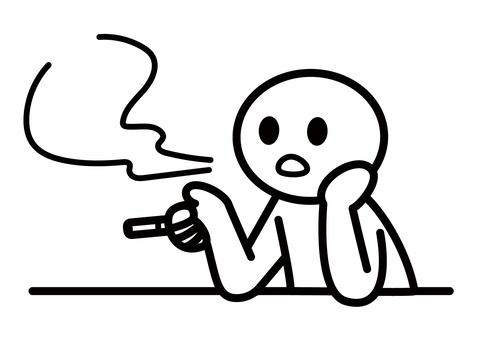 棒人間-タバコを吸う(上半身)