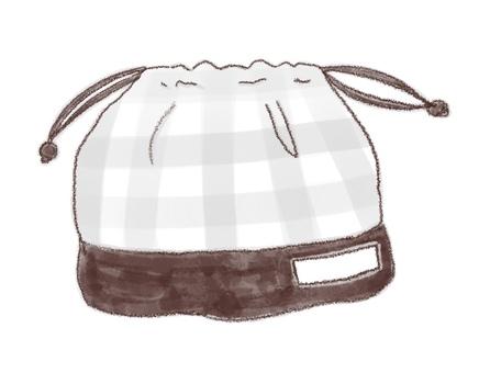 Drawstring purse 1 (black and white)