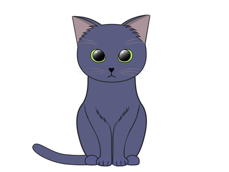 貓前腿對齊坐著(俄羅斯藍)