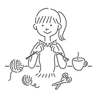 一名婦女編織消聲器的線描