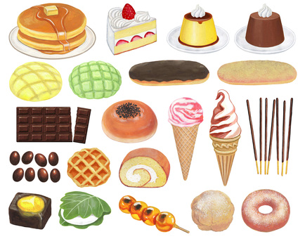 Sweet snack illustration set