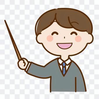 演講帶著微笑的老師的插圖