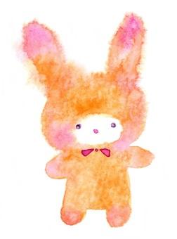 蓬鬆的兔子毛絨透明水彩手繪